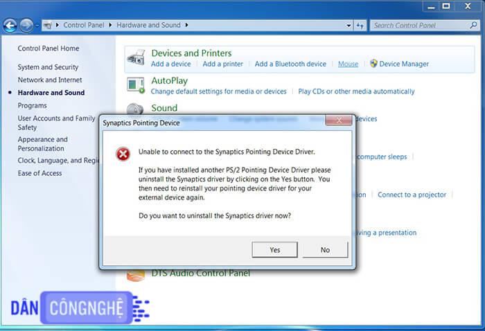 phần mềm Synaptics Pointing Device