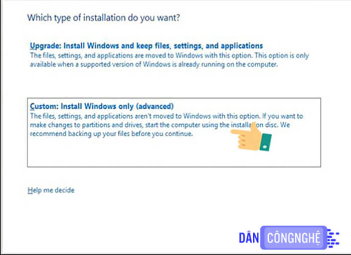 Custom: Install Windows only (advanced).