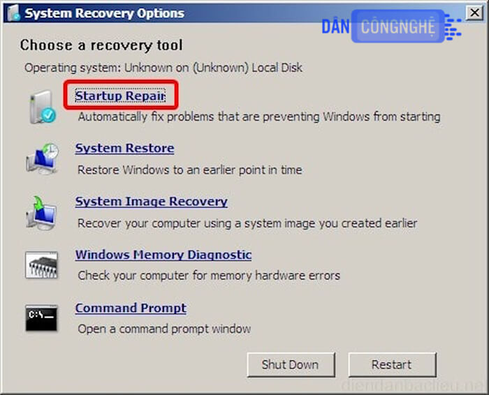 lỗi windows error recovery