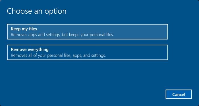 Reset PC và giữ lại các tập tin cá nhân bước 5