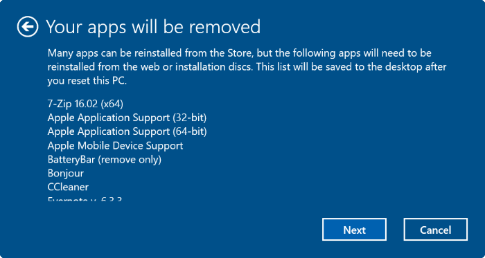 Reset PC và giữ lại các tập tin cá nhân 6