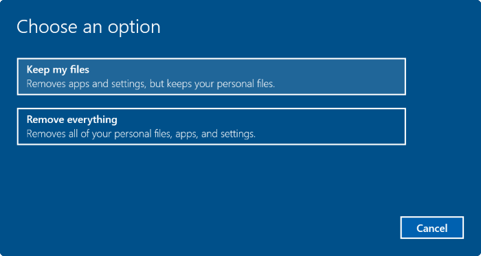 Reset máy tính về trạng thái như mới bước 3