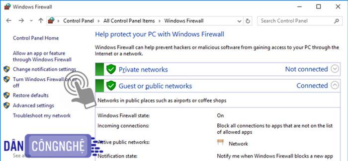 Tắt tính năng tường lửa Windows Firewall 1